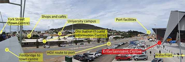 Panoramic view of Albany showing relationship between Entertainment Centre, town centre, and other facilities.
